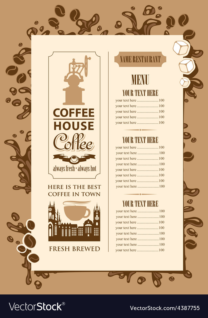 Coffee house menu vector | Price: 1 Credit (USD $1)