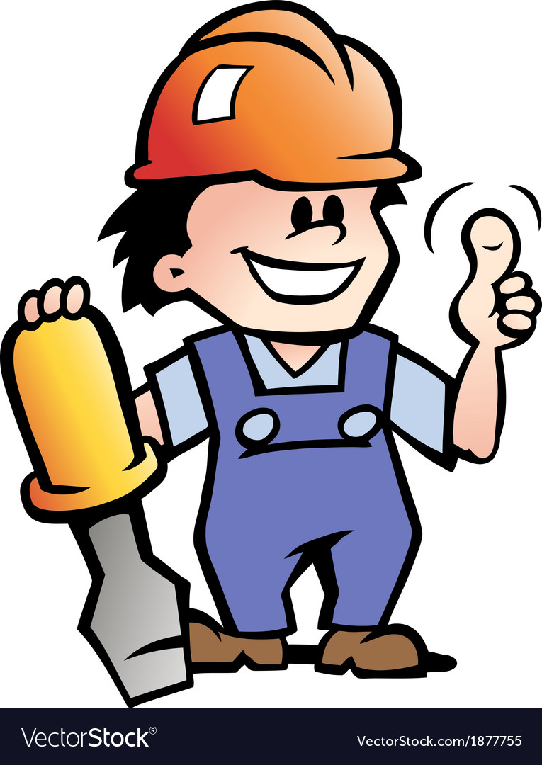 Hand-drawn of an happy mechanic handyman vector | Price: 1 Credit (USD $1)