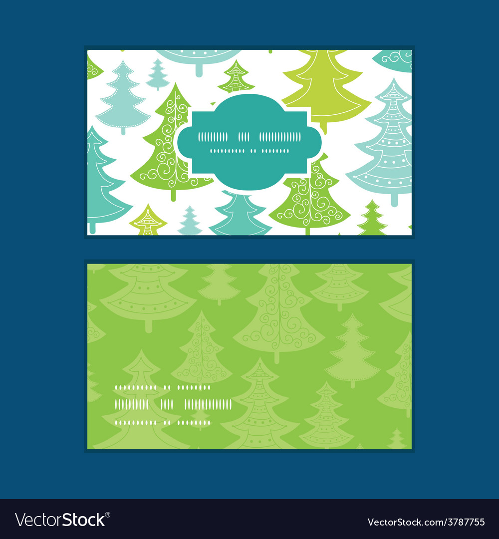 Holiday christmas trees horizontal frame vector | Price: 1 Credit (USD $1)