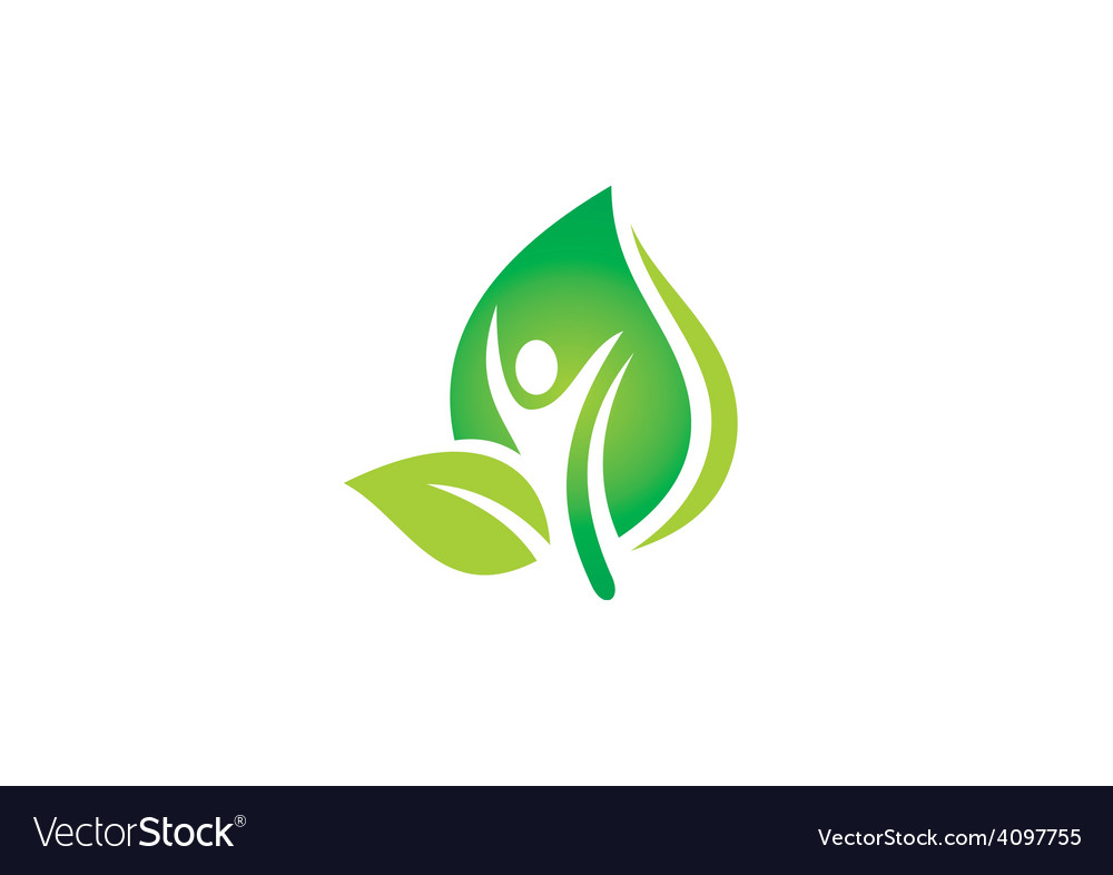 Man people leaf spa ecology nature logo vector | Price: 1 Credit (USD $1)