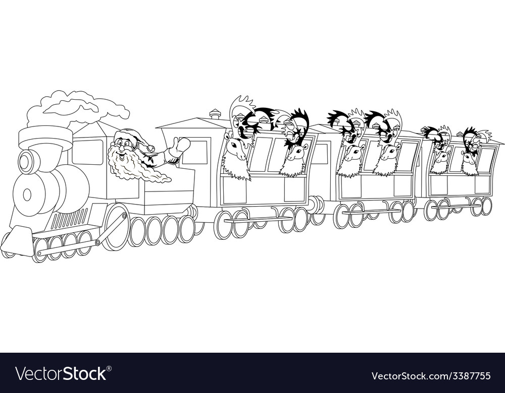 Santa on train vector | Price: 1 Credit (USD $1)