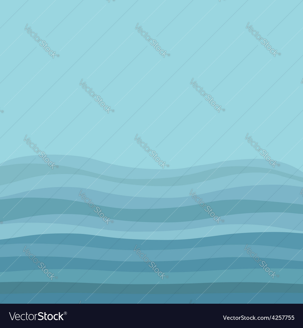 Sea ocean water with blue waves and sky background vector | Price: 1 Credit (USD $1)