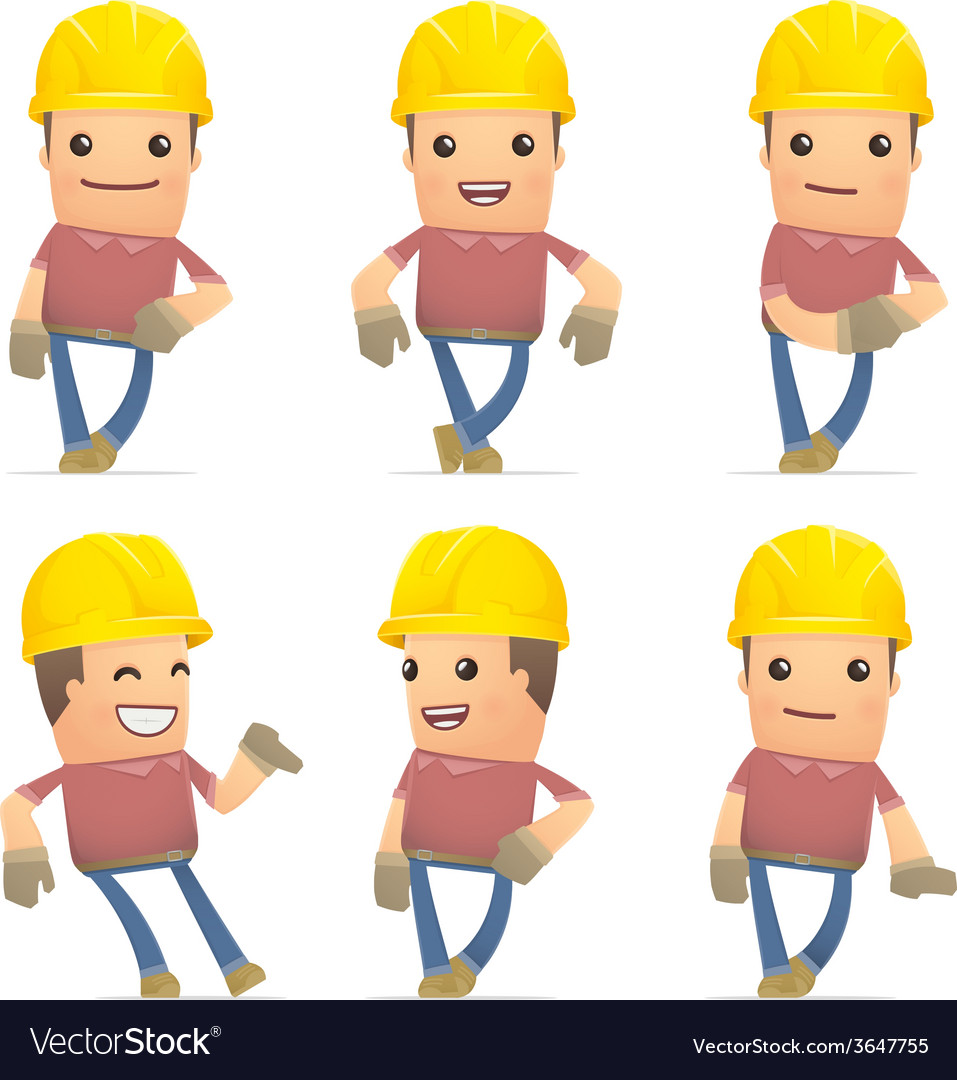 Set of builder character in different poses vector | Price: 1 Credit (USD $1)
