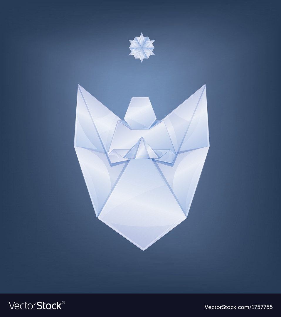 Singing christmas angel with first star origami vector | Price: 1 Credit (USD $1)