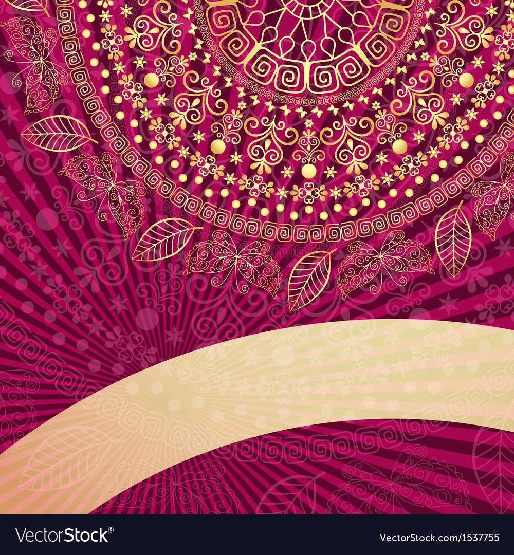 Vintage gold-purple frame vector | Price: 1 Credit (USD $1)
