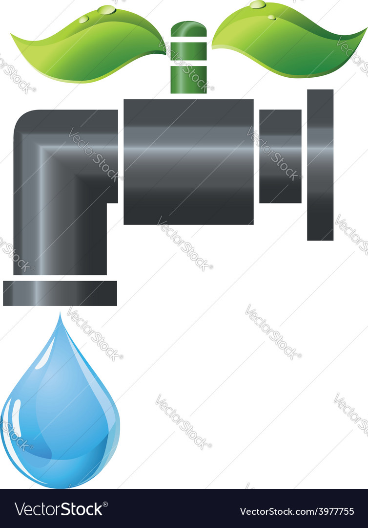 Water tap or faucet with droplet and green leaves vector | Price: 1 Credit (USD $1)