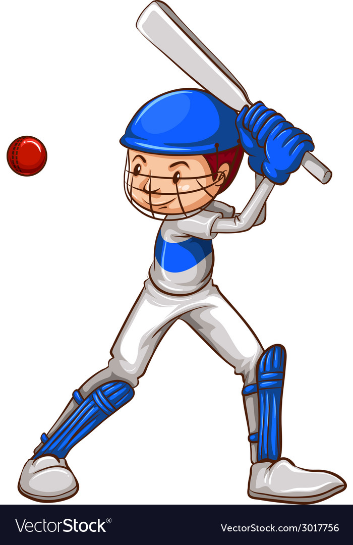 A sketch of a cricket player vector | Price: 1 Credit (USD $1)