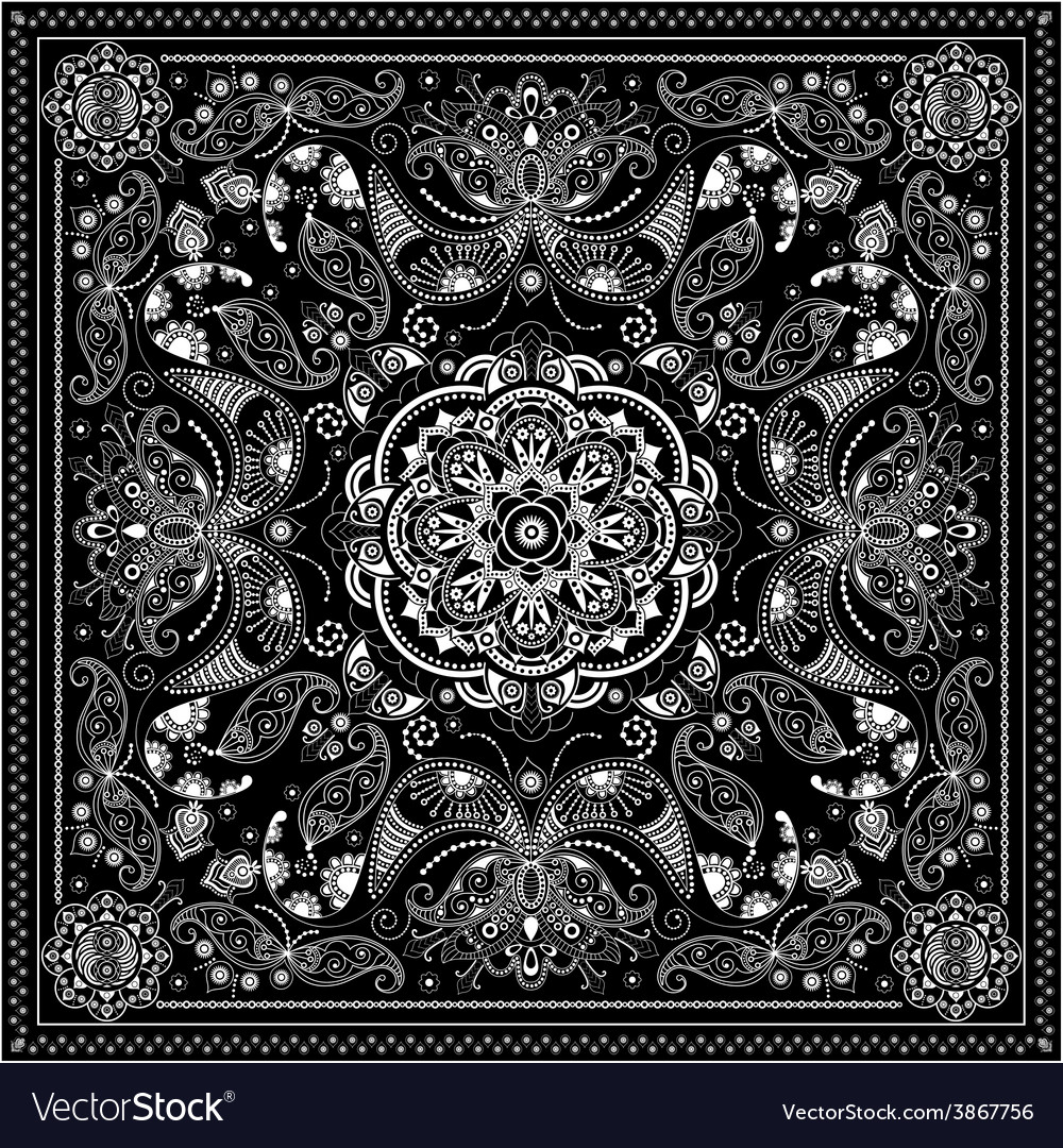 Black and white ornamental square with paisley vector | Price: 1 Credit (USD $1)