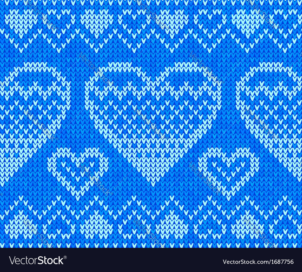 Blue knitted hearts seamless pattern vector | Price: 1 Credit (USD $1)
