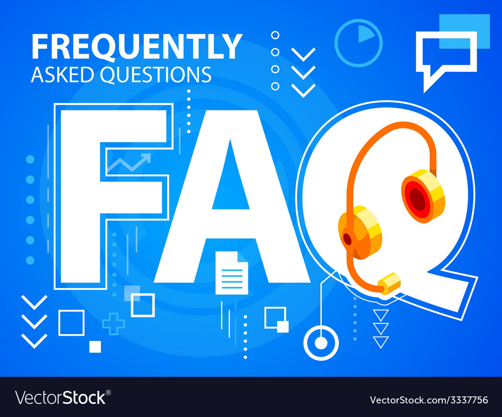 Bright faq and head phone on blue background vector | Price: 3 Credit (USD $3)
