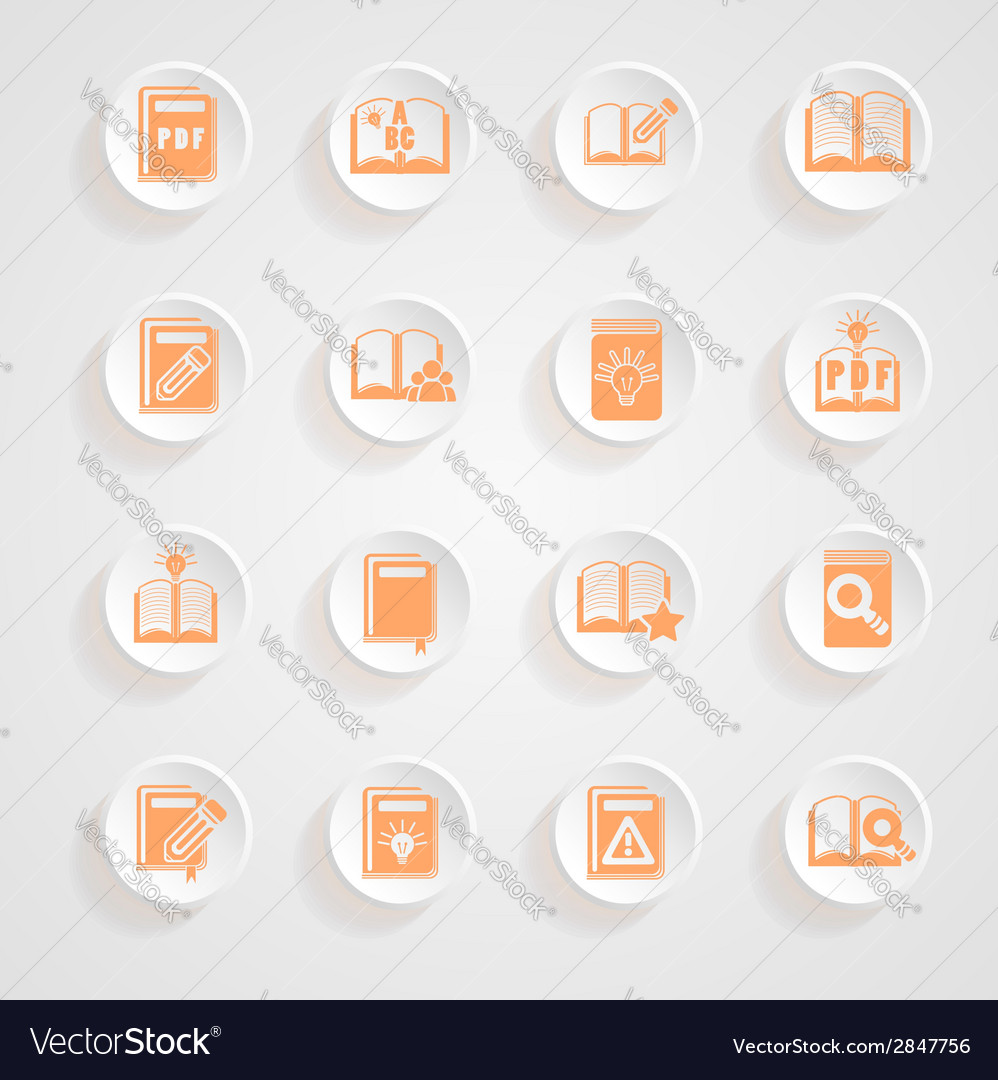 Button shadows book icons vector | Price: 1 Credit (USD $1)
