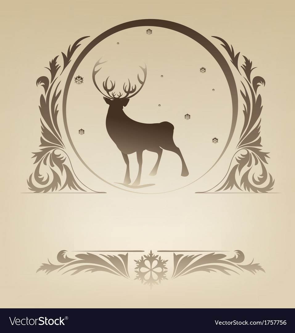 Christmas standing raindeer background rich vector | Price: 1 Credit (USD $1)