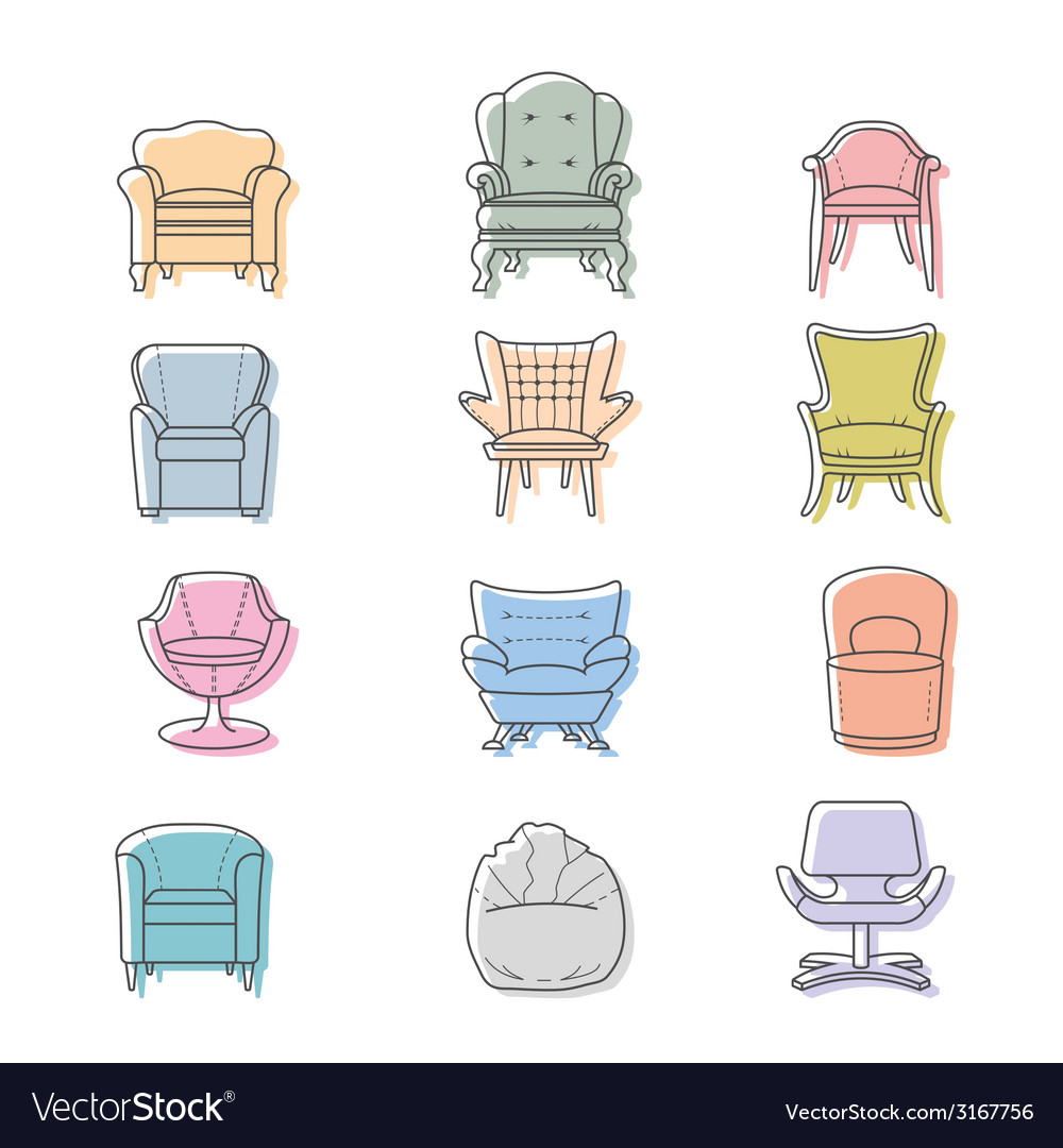 Colorfull armchairs isolated icons set vector | Price: 1 Credit (USD $1)