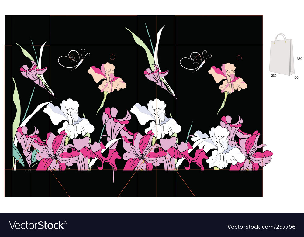 Decorative bag with iris flowers vector | Price: 1 Credit (USD $1)