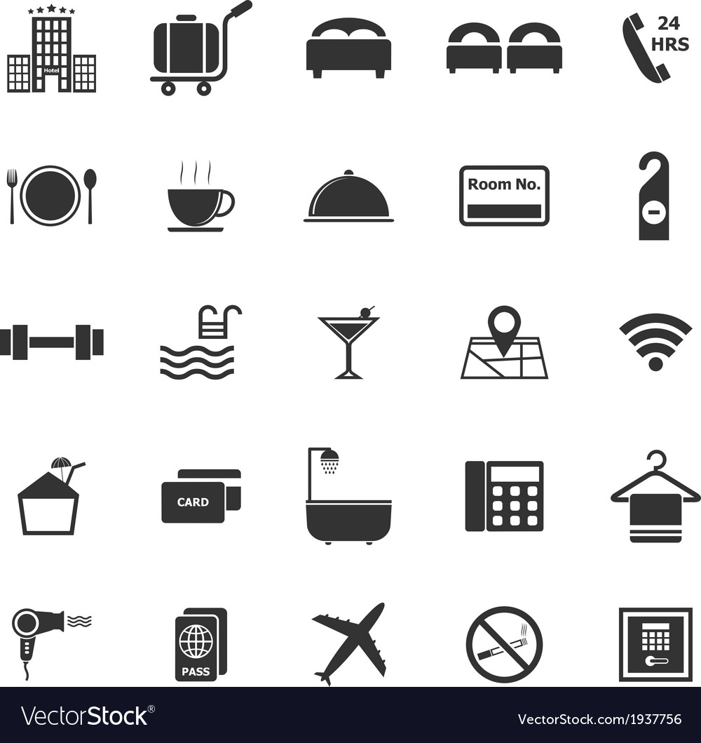 Hotel icons on white background vector | Price: 1 Credit (USD $1)