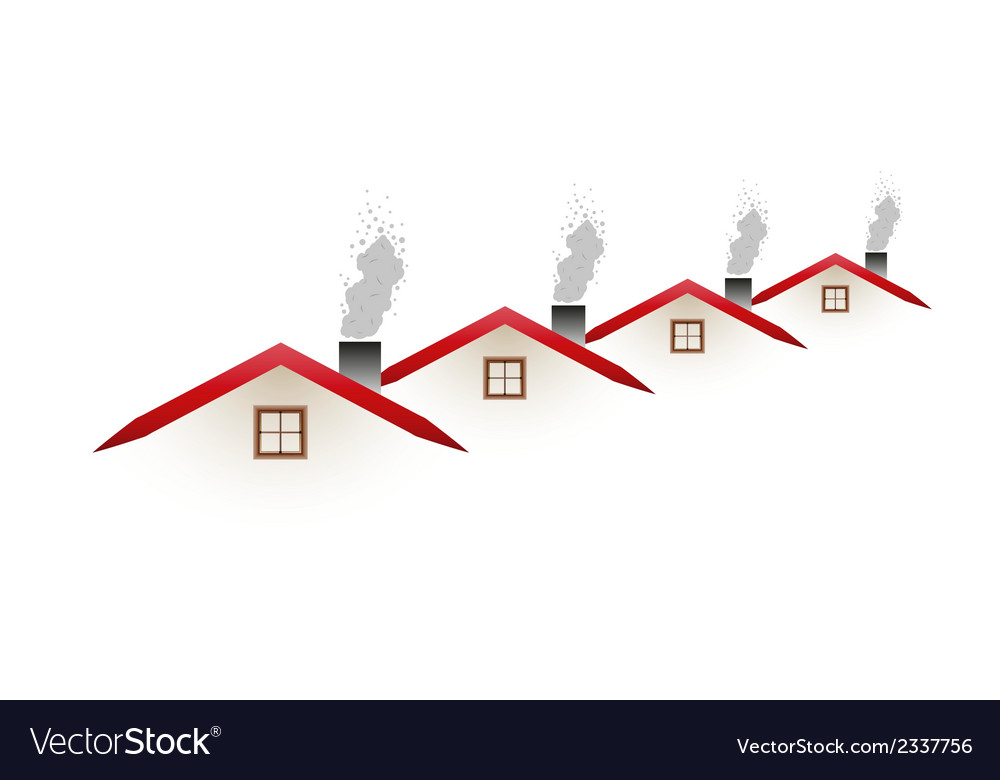 Houses and smoking roofs vector | Price: 1 Credit (USD $1)