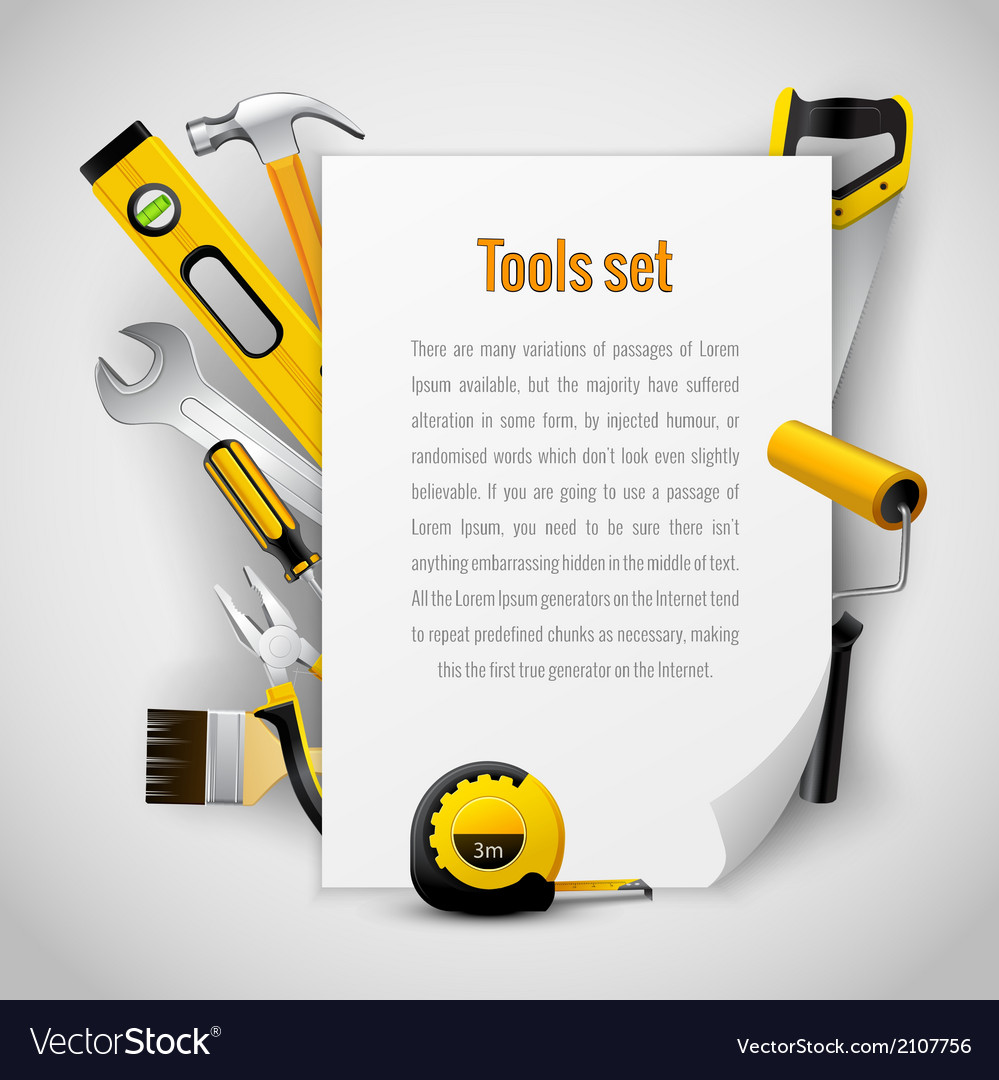 Realistic carpenter tools background frame vector | Price: 1 Credit (USD $1)