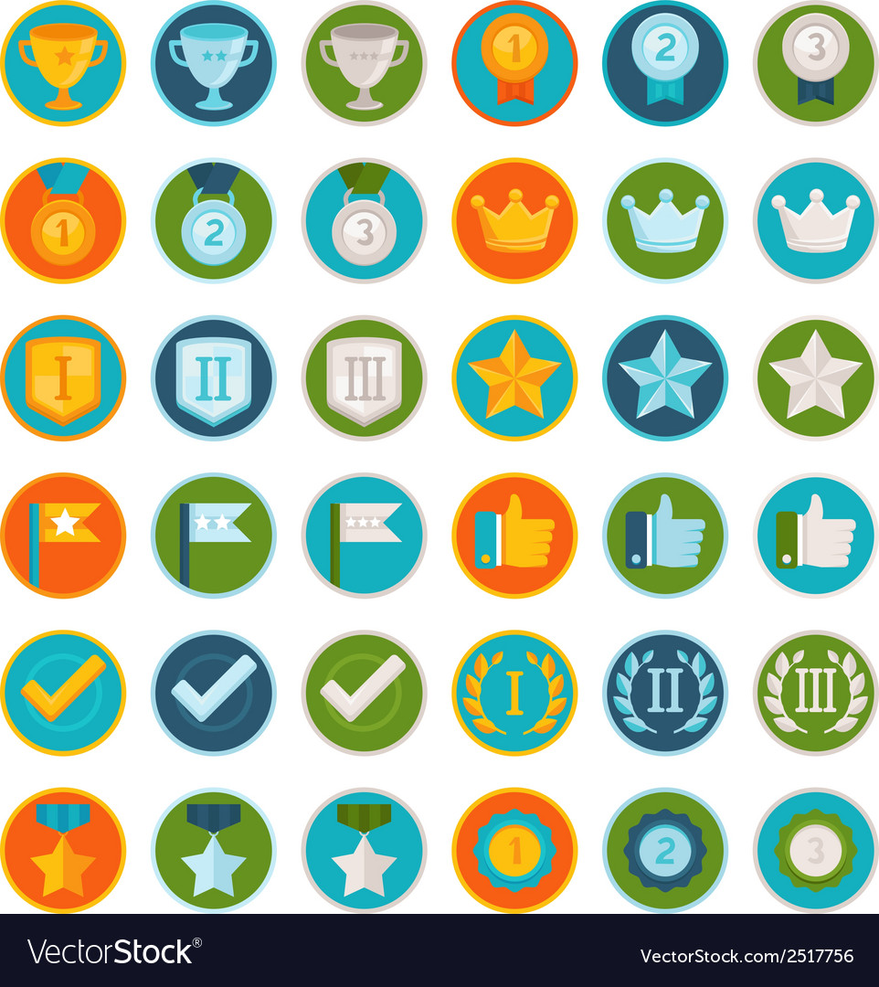 Set of 36 flat gamification icons vector | Price: 1 Credit (USD $1)