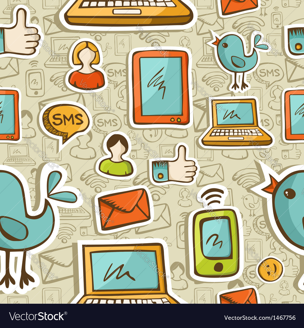 Social media cartoon pattern vector | Price: 1 Credit (USD $1)