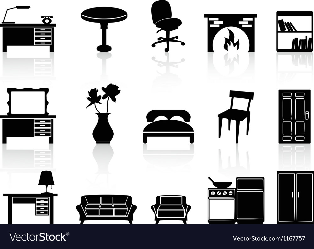 Black simple furniture icon vector | Price: 1 Credit (USD $1)