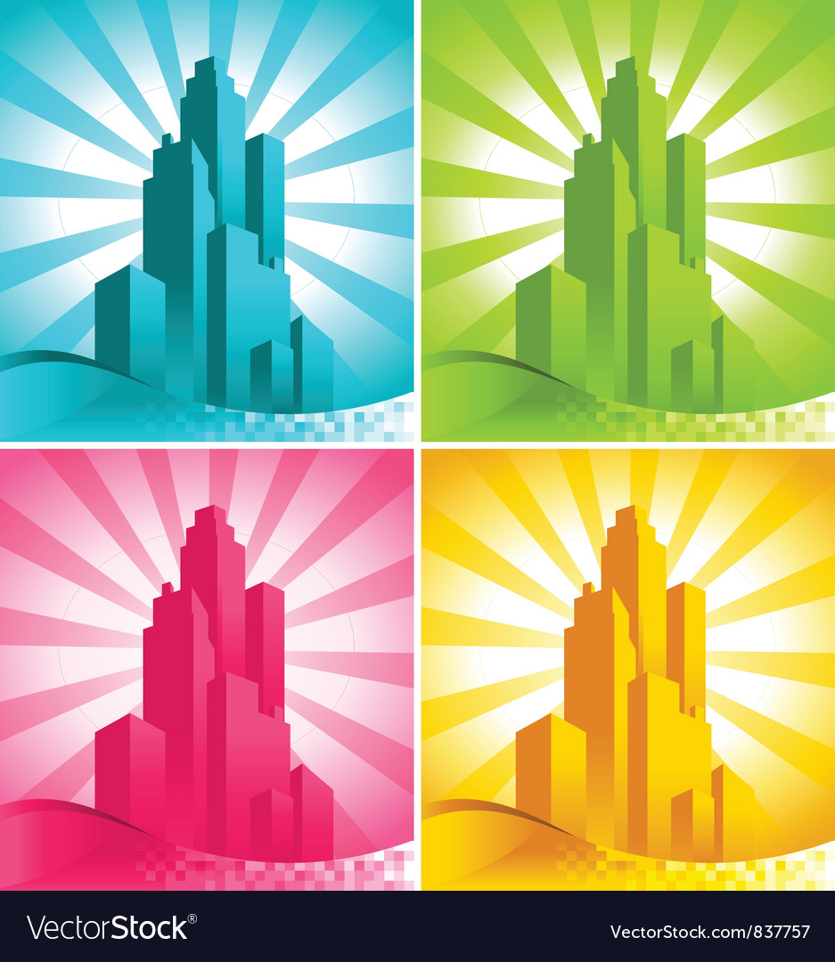 Colorful skyscrapers vector | Price: 1 Credit (USD $1)