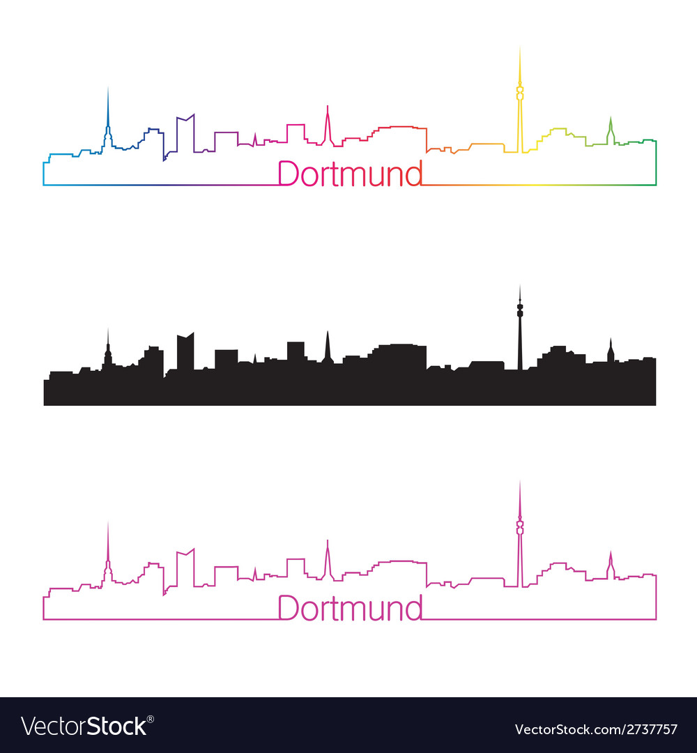 Dortmund skyline linear style with rainbow vector | Price: 1 Credit (USD $1)