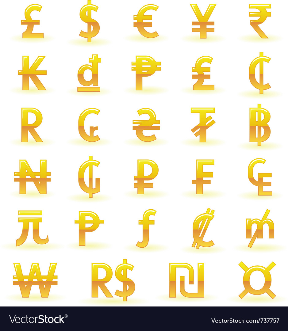 Golden currency symbols vector | Price: 1 Credit (USD $1)