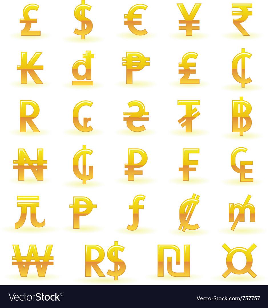 Golden currency symbols vector | Price: 1 Credit (USD $1)