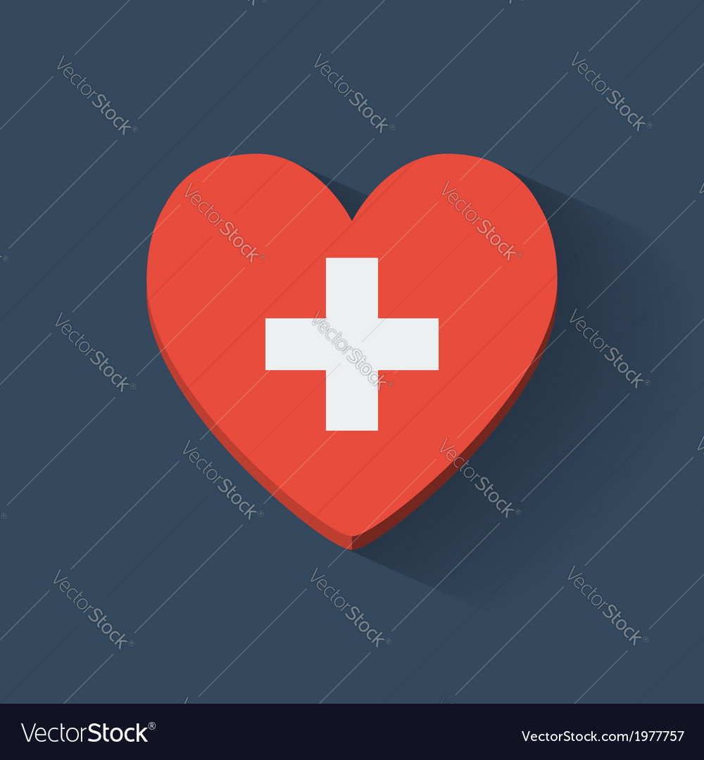 Heart-shaped icon with flag of switzerland vector | Price: 1 Credit (USD $1)