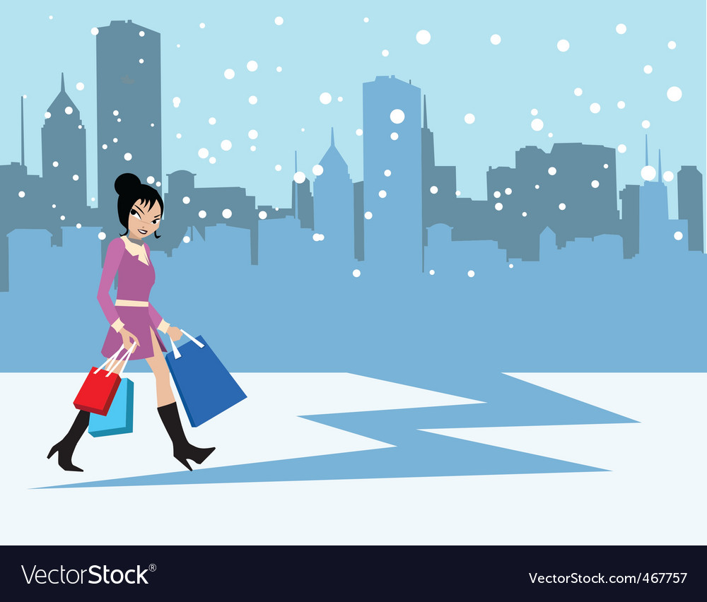 Snowing city vector | Price: 1 Credit (USD $1)