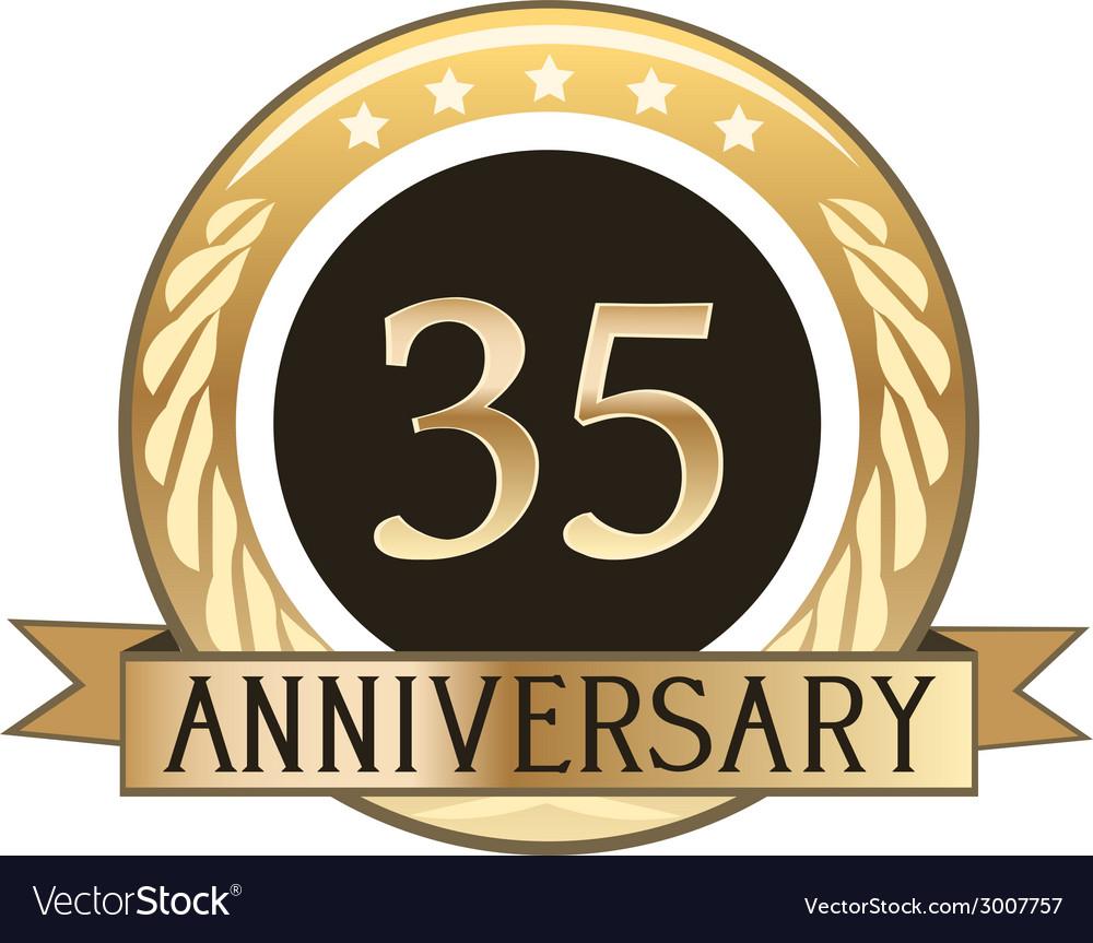 Thirty five year anniversary badge vector   Price: 1 Credit (USD $1)