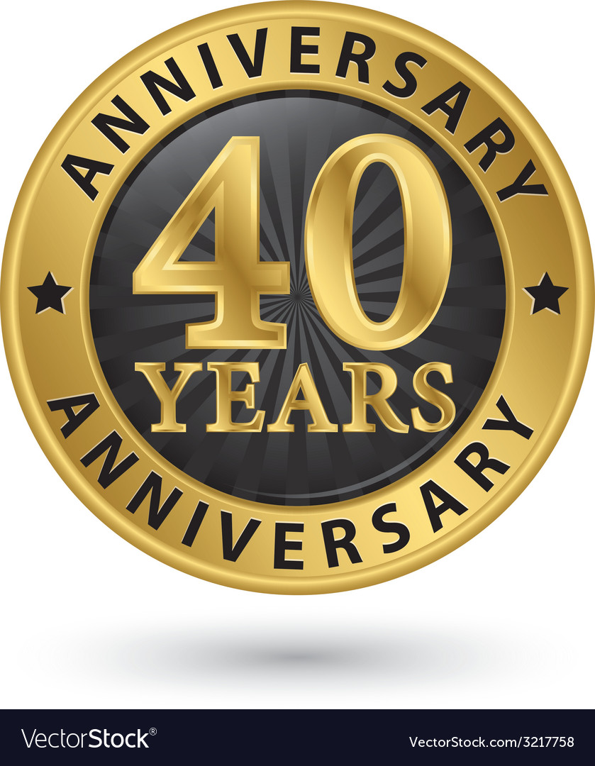 40 years anniversary gold label vector | Price: 1 Credit (USD $1)