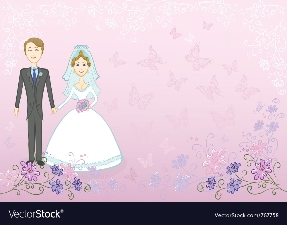 Bride and groom on pink floral background vector | Price: 3 Credit (USD $3)