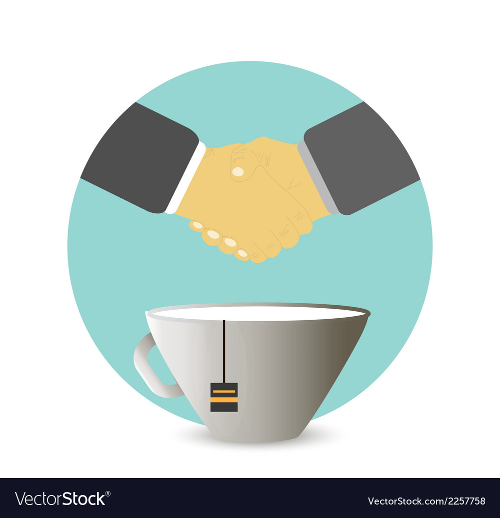 Handshake behind a cup of tea coffee vector | Price: 1 Credit (USD $1)