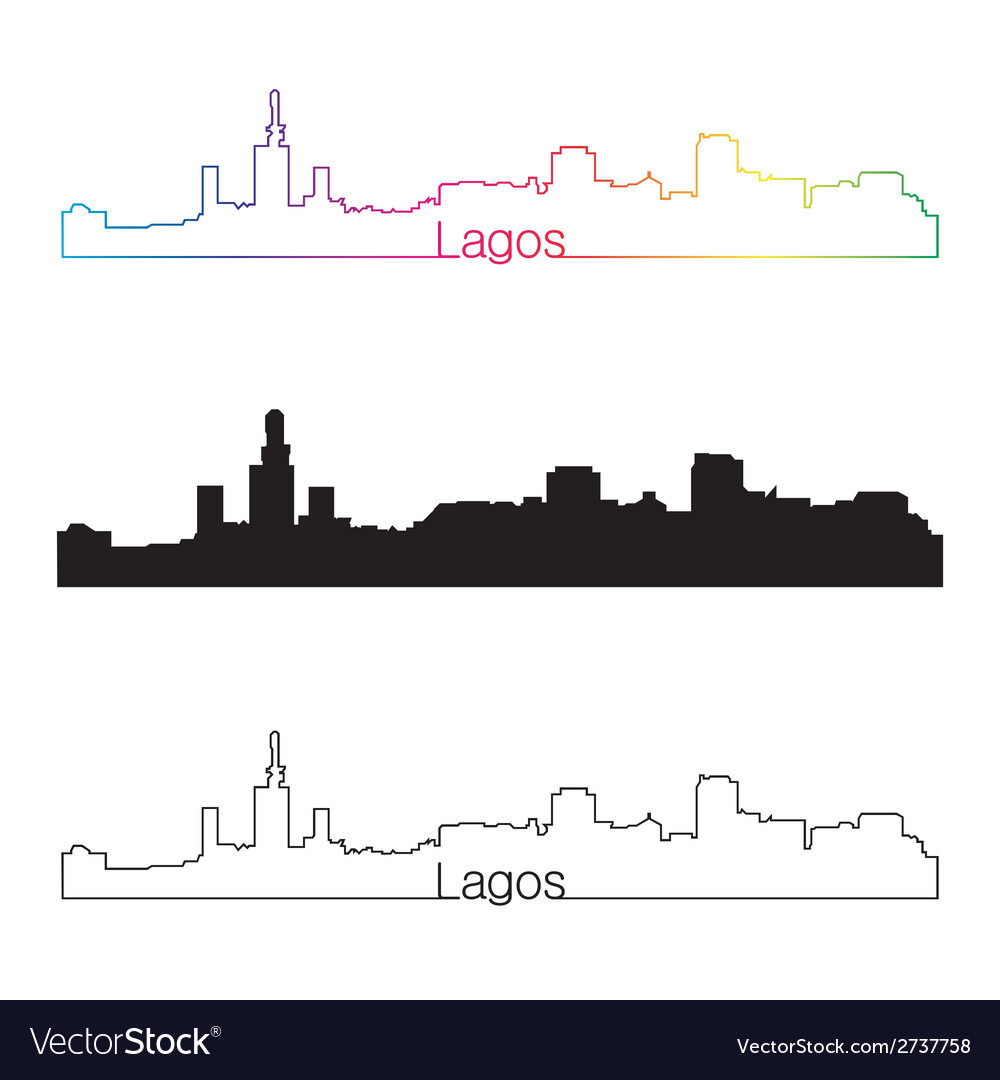 Lagos skyline linear style with rainbow vector | Price: 1 Credit (USD $1)