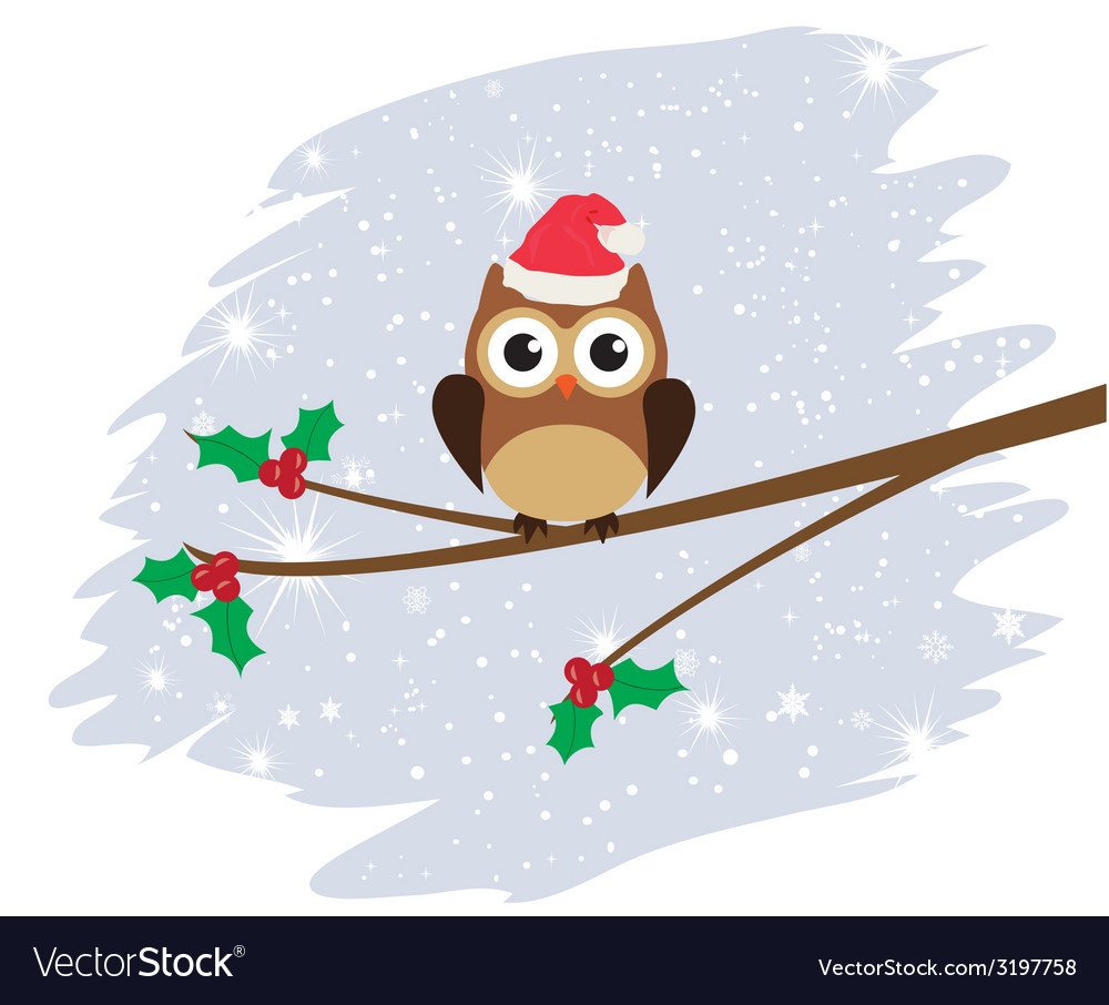 Owl santa hat vector | Price: 1 Credit (USD $1)