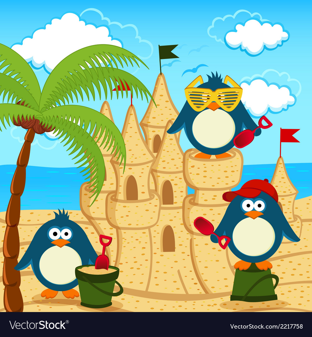 Penguin built sand castle vector | Price: 1 Credit (USD $1)