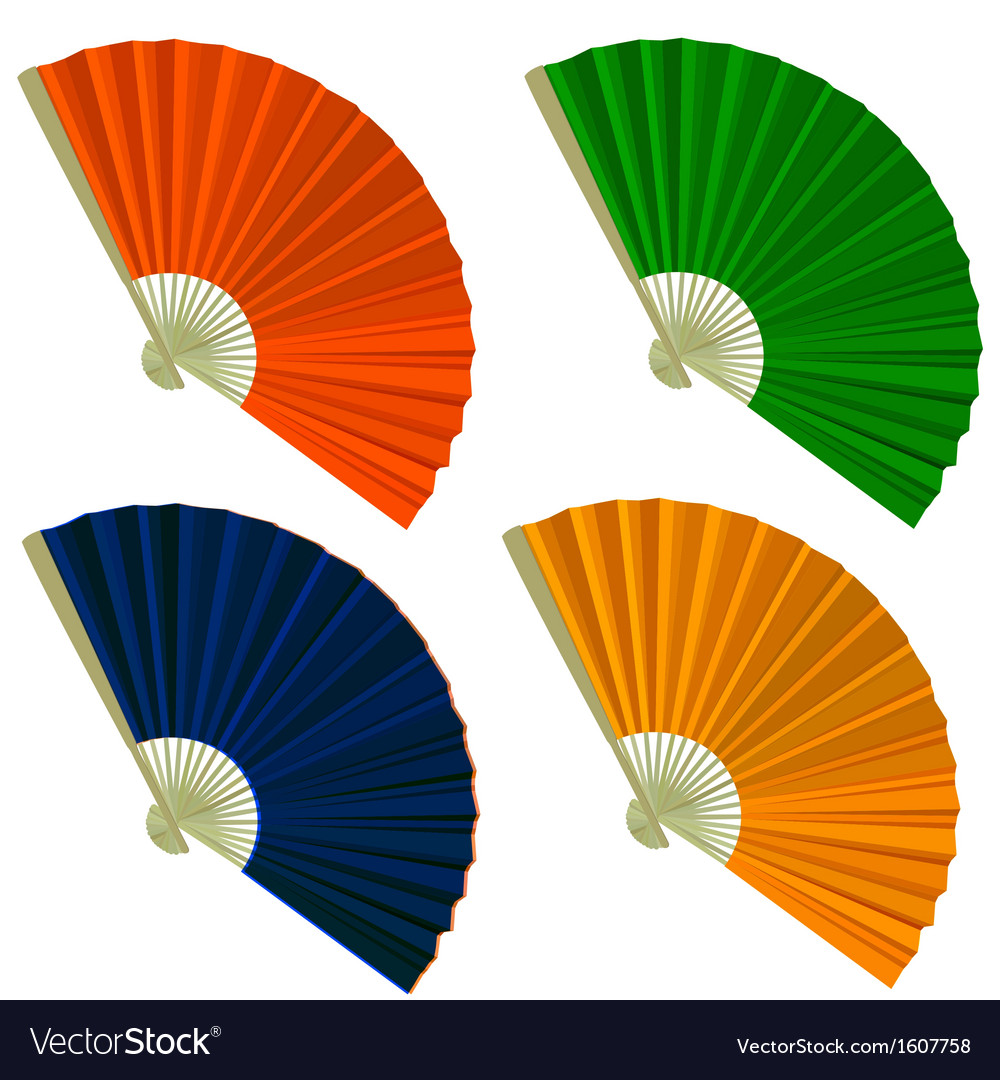 Set traditional folding fans vector | Price: 1 Credit (USD $1)