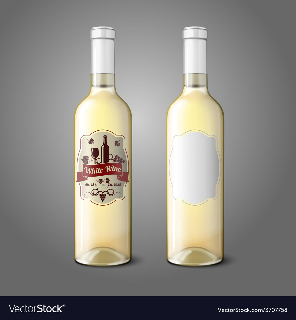 Two realistic bottles for white wine with labels vector | Price: 1 Credit (USD $1)