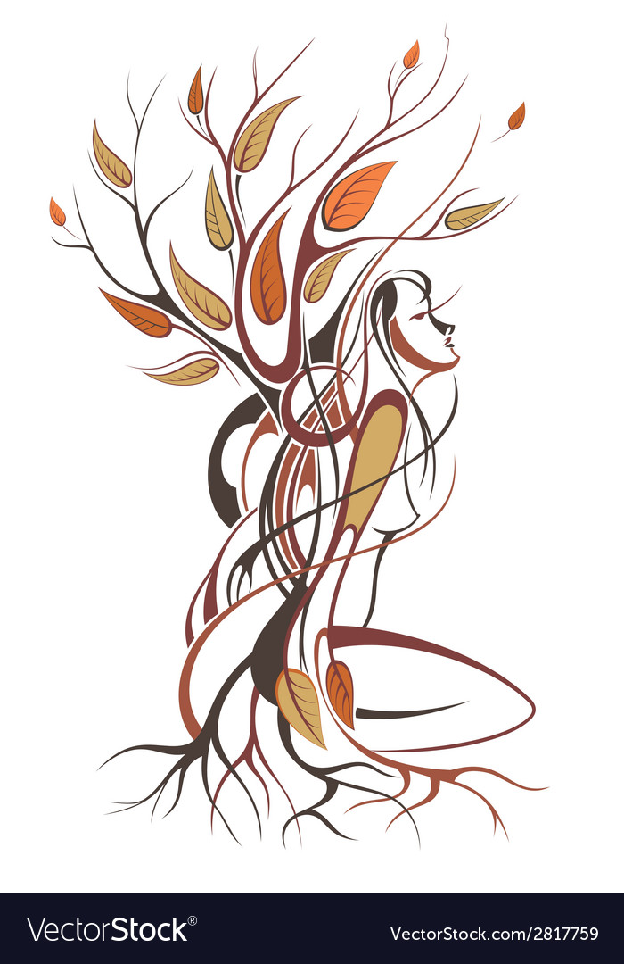 Background of autumn lady vector | Price: 1 Credit (USD $1)