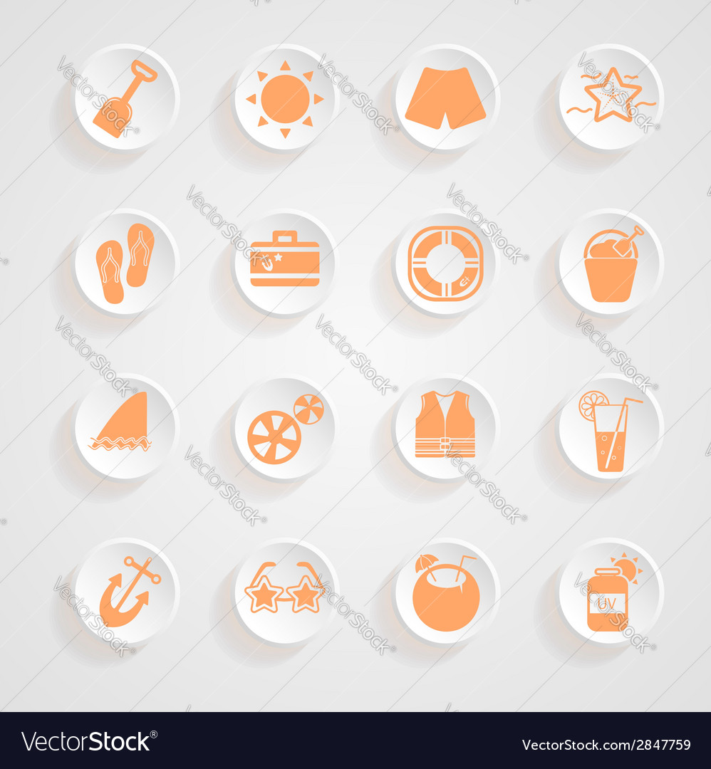 Button shadows vacation icons vector | Price: 1 Credit (USD $1)