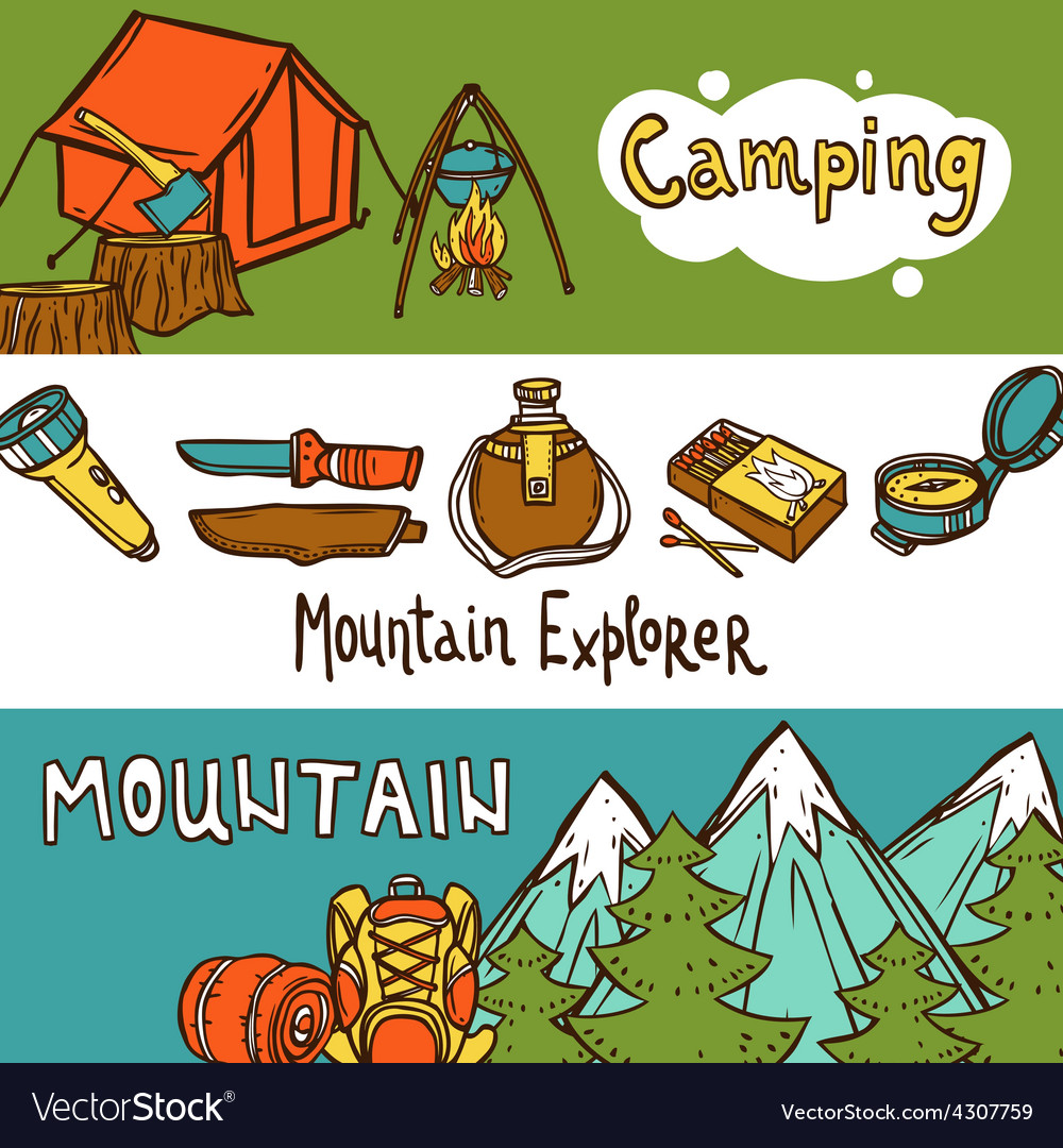 Camping banners horizontal vector | Price: 1 Credit (USD $1)