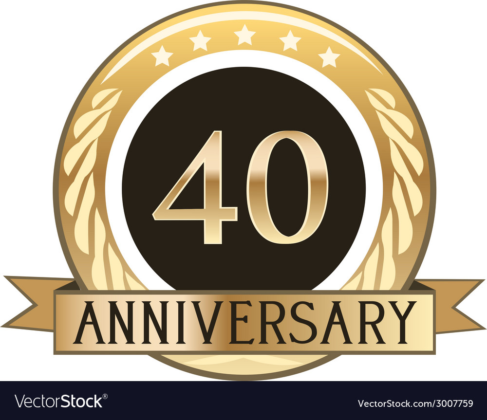 Forty year anniversary badge vector | Price: 1 Credit (USD $1)