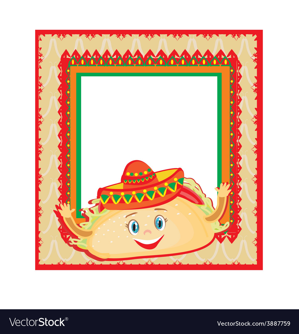 Funny tacos character mexican frame card vector | Price: 1 Credit (USD $1)