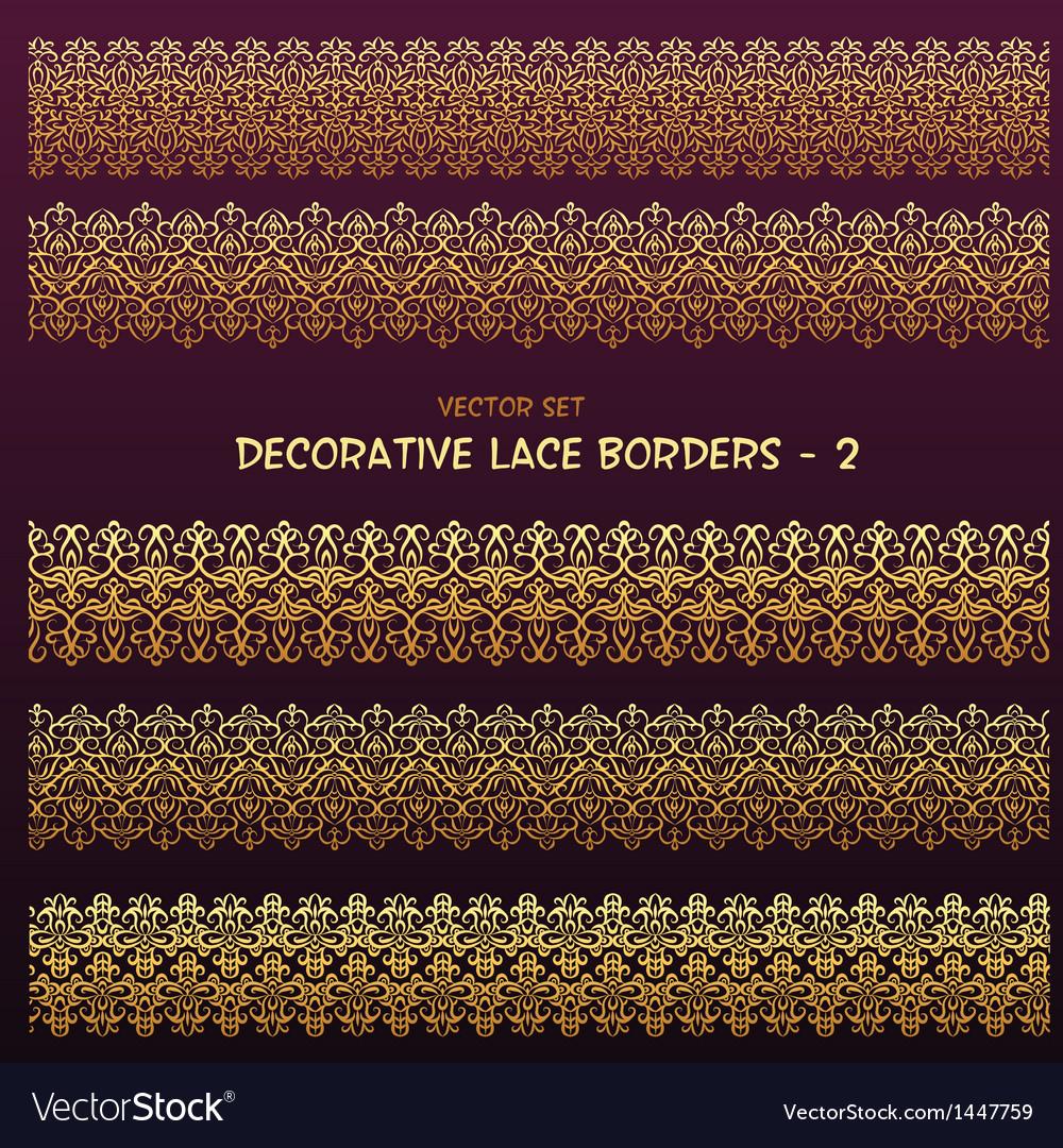 Golden decorative ethnic borders vector | Price: 1 Credit (USD $1)