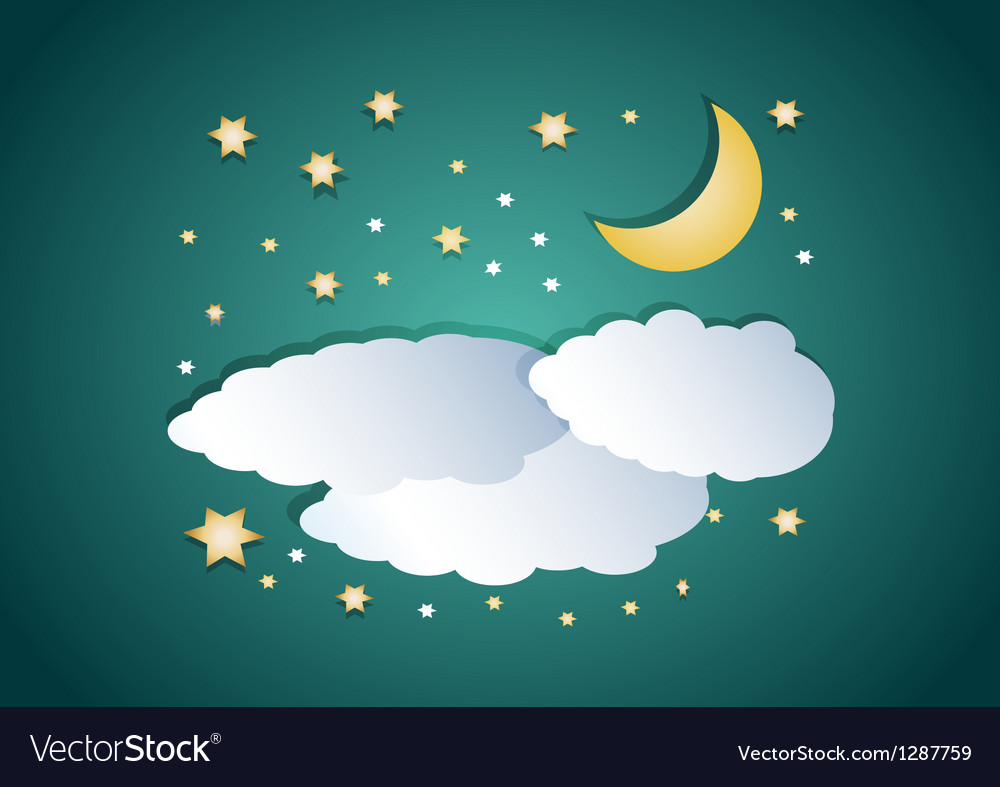 Night clouds with moon and stars vector | Price: 1 Credit (USD $1)