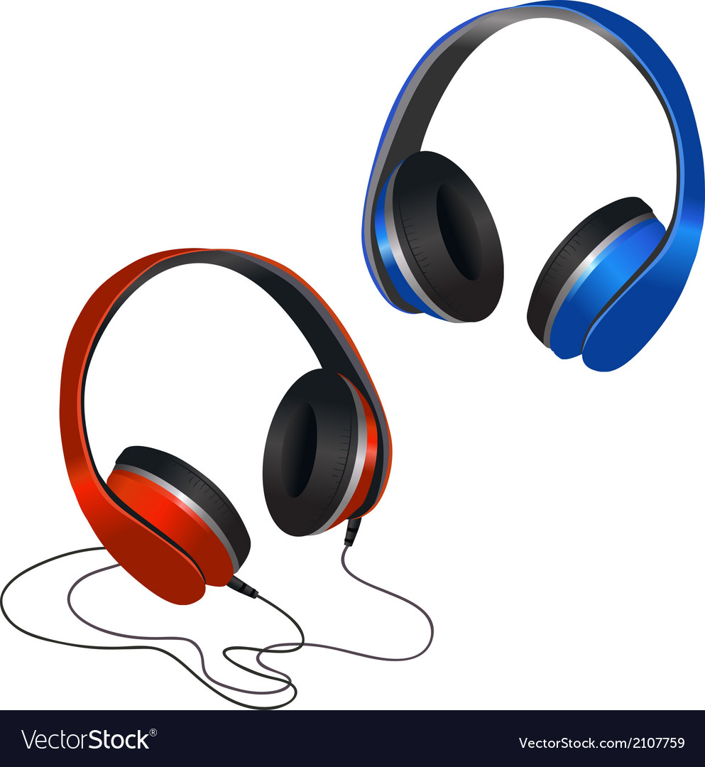 Red and blue headphones vector | Price: 1 Credit (USD $1)