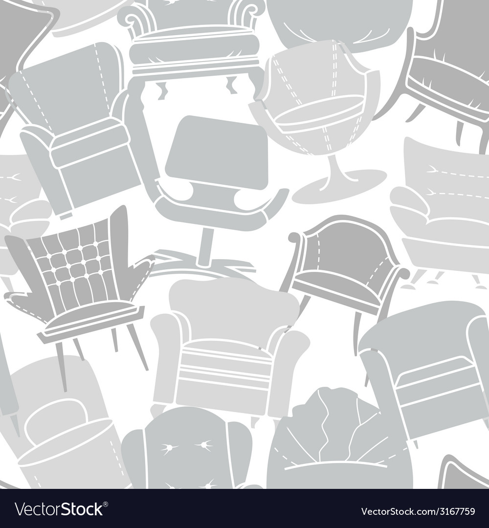 Seamless pattern of grey armchairs vector | Price: 1 Credit (USD $1)