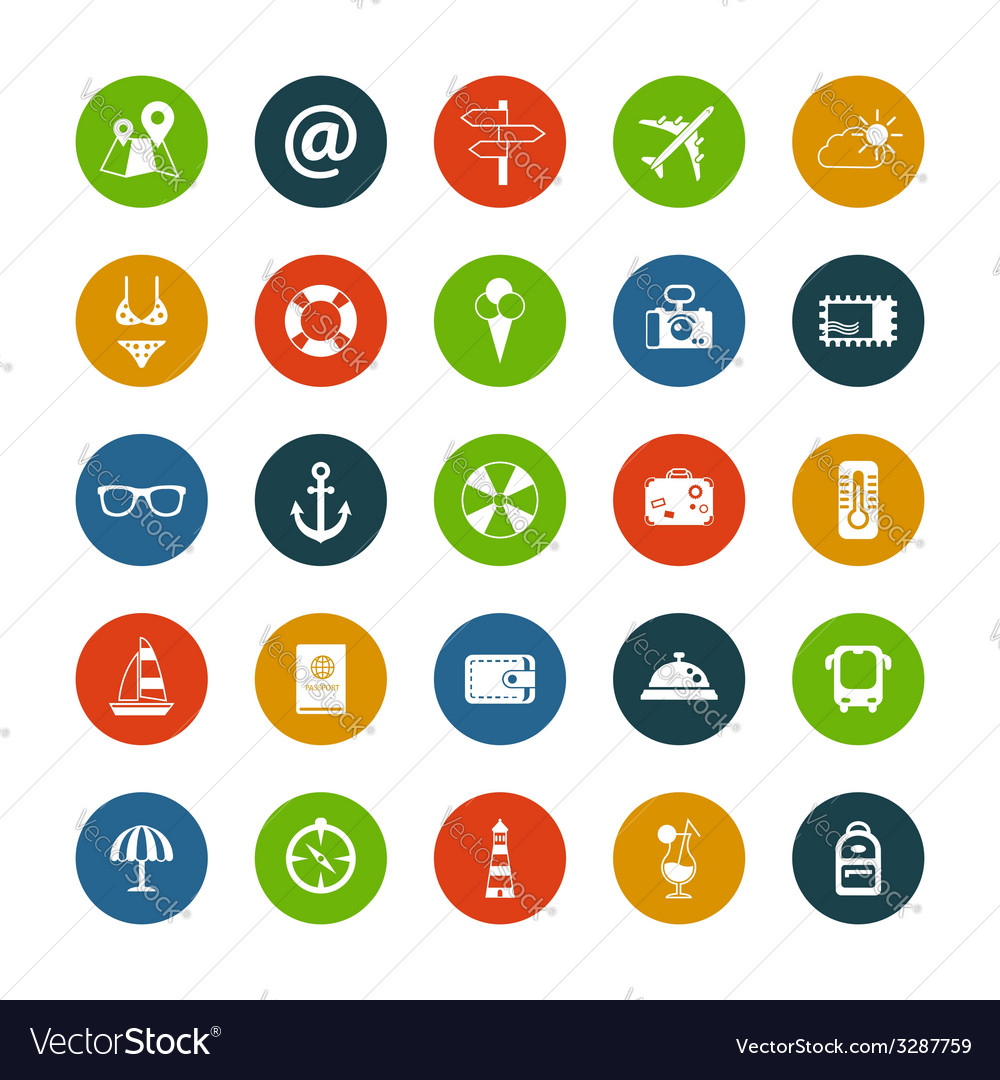 Set of flat design travel icons vector | Price: 1 Credit (USD $1)
