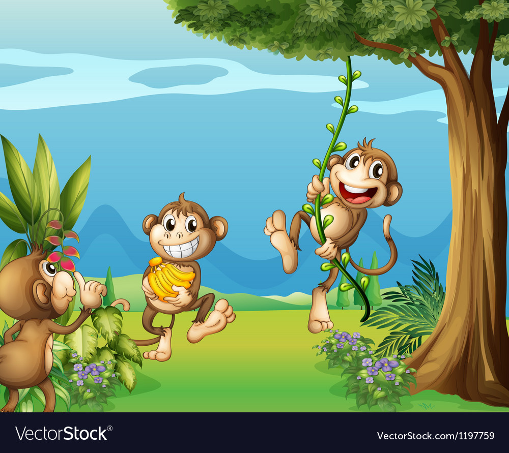 The three monkeys at the hills vector | Price: 1 Credit (USD $1)